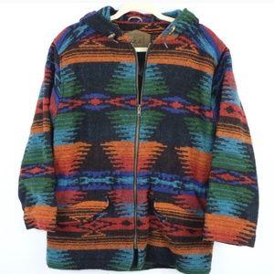 Woolrich Aztec tribal hoodie jacket men wool